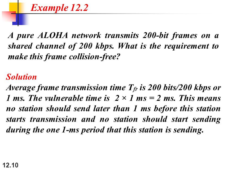 12.10 A pure ALOHA network transmits 200-bit frames on a shared channel of 200 kbps.