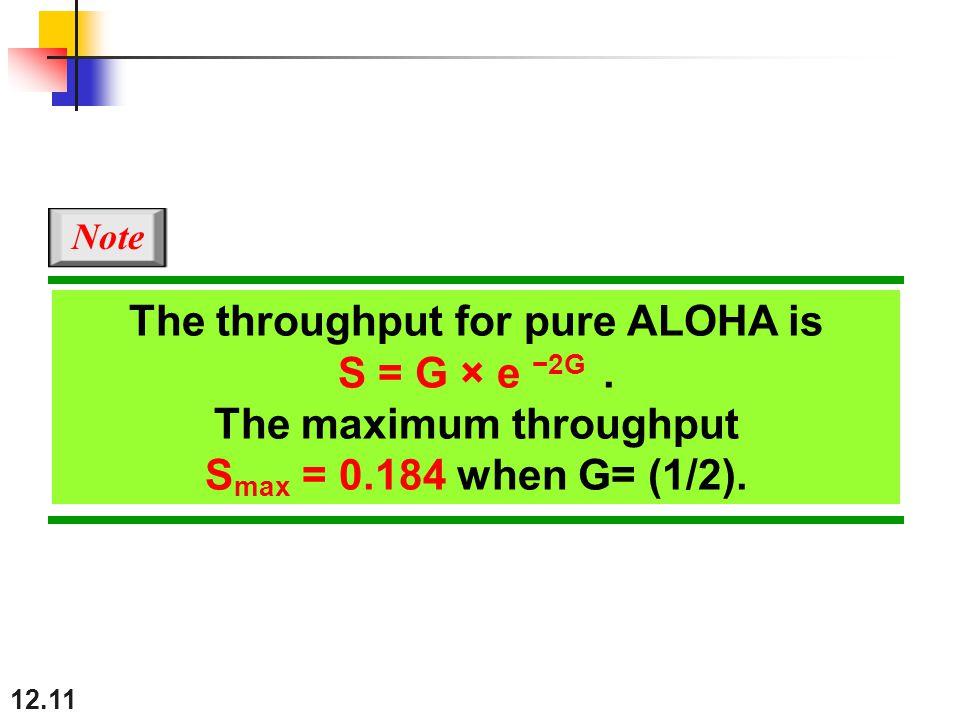 12.11 The throughput for pure ALOHA is S = G × e −2G.
