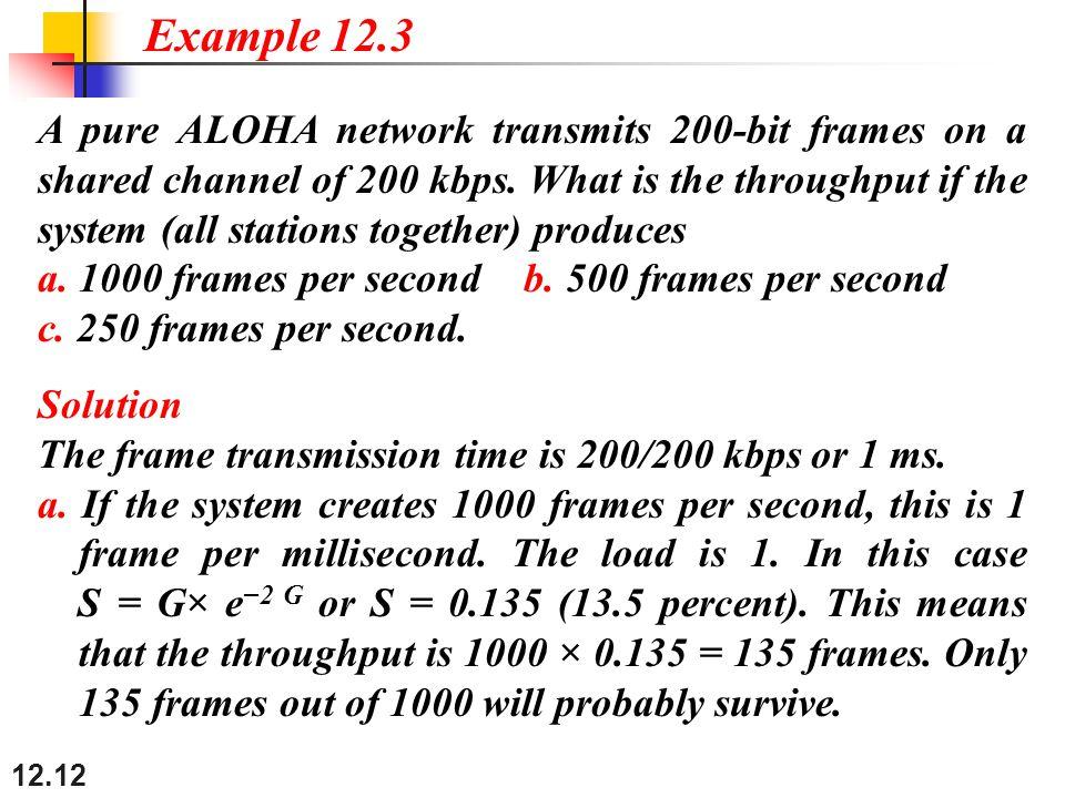 12.12 A pure ALOHA network transmits 200-bit frames on a shared channel of 200 kbps.