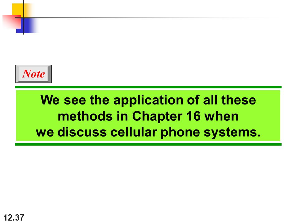 12.37 We see the application of all these methods in Chapter 16 when we discuss cellular phone systems.