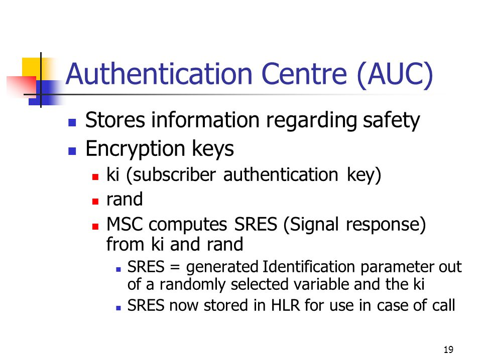 19 Authentication Centre (AUC) Stores information regarding safety Encryption keys ki (subscriber authentication key) rand MSC computes SRES (Signal response) from ki and rand SRES = generated Identification parameter out of a randomly selected variable and the ki SRES now stored in HLR for use in case of call