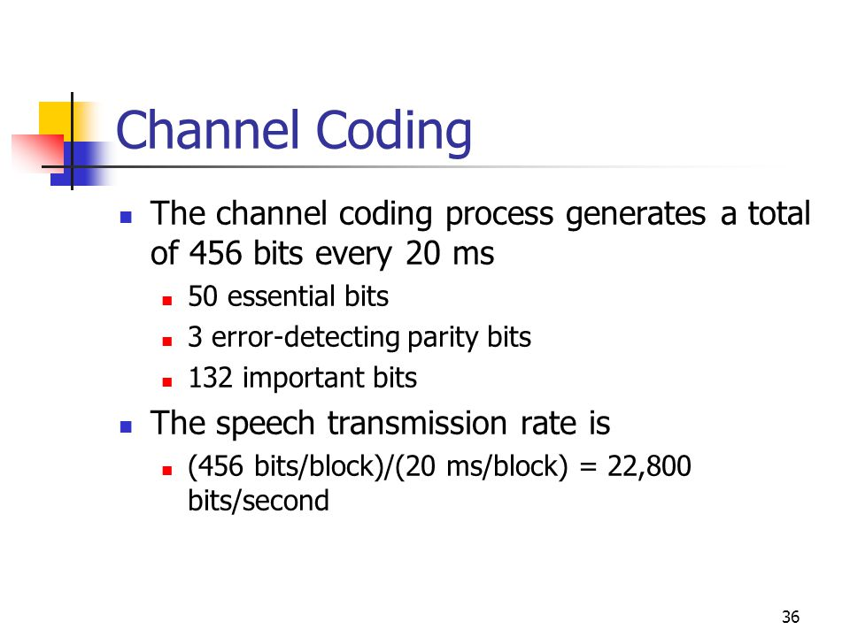 36 Channel Coding The channel coding process generates a total of 456 bits every 20 ms 50 essential bits 3 error-detecting parity bits 132 important bits The speech transmission rate is (456 bits/block)/(20 ms/block) = 22,800 bits/second