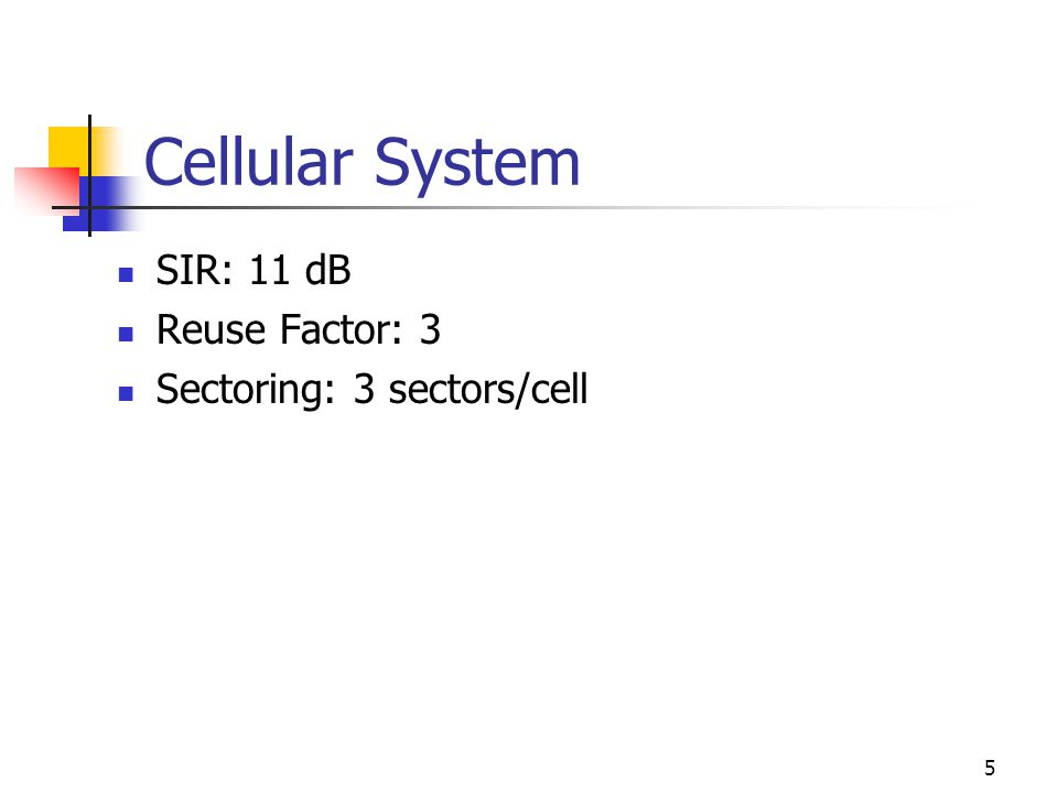 5 Cellular System SIR: 11 dB Reuse Factor: 3 Sectoring: 3 sectors/cell