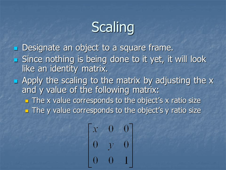 Scaling Designate an object to a square frame. Designate an object to a square frame.