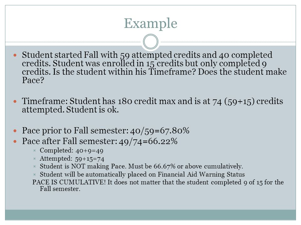 Example Student started Fall with 59 attempted credits and 40 completed credits.
