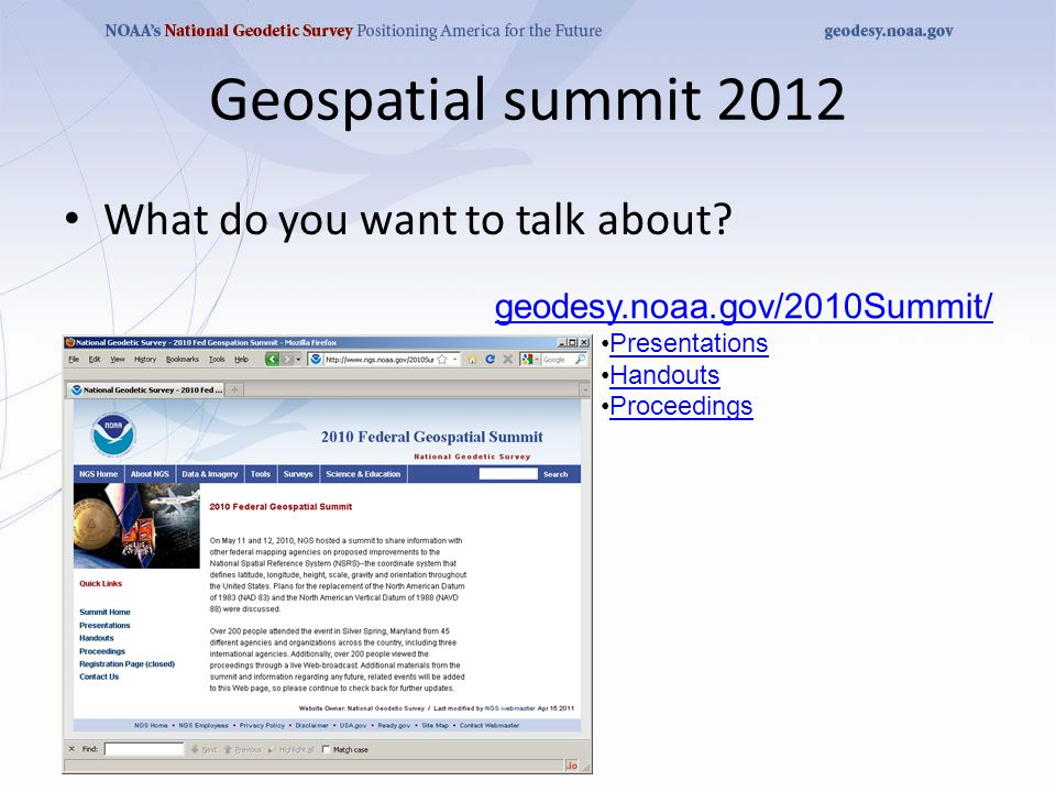 Geospatial summit 2012 What do you want to talk about.