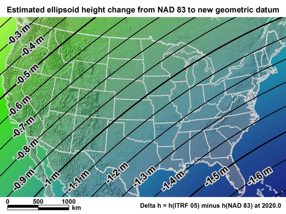 New geometric datum minus NAD 83 (ellipsoid height)