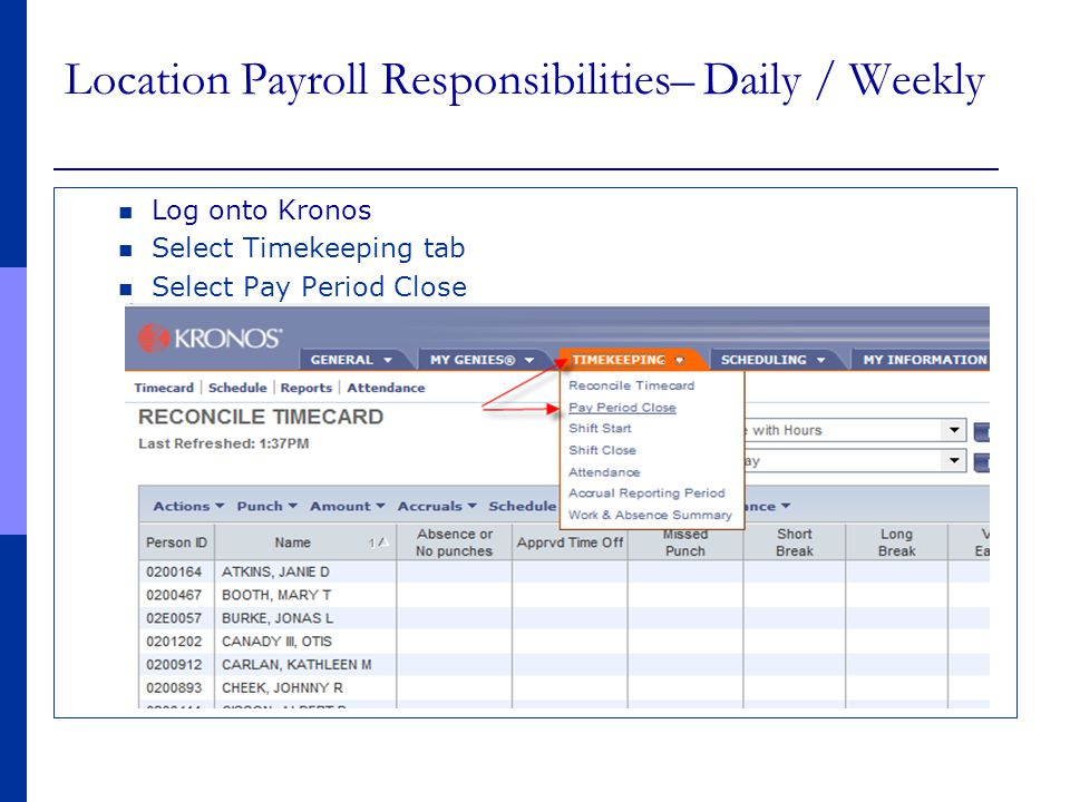 Location Payroll Responsibilities– Daily / Weekly Log onto Kronos Select Timekeeping tab Select Pay Period Close