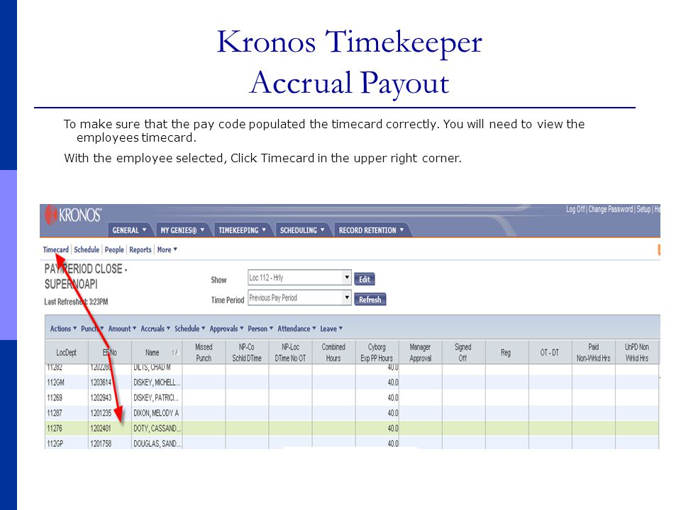To make sure that the pay code populated the timecard correctly. You will need to view the employees timecard. With the employee selected, Click Timec