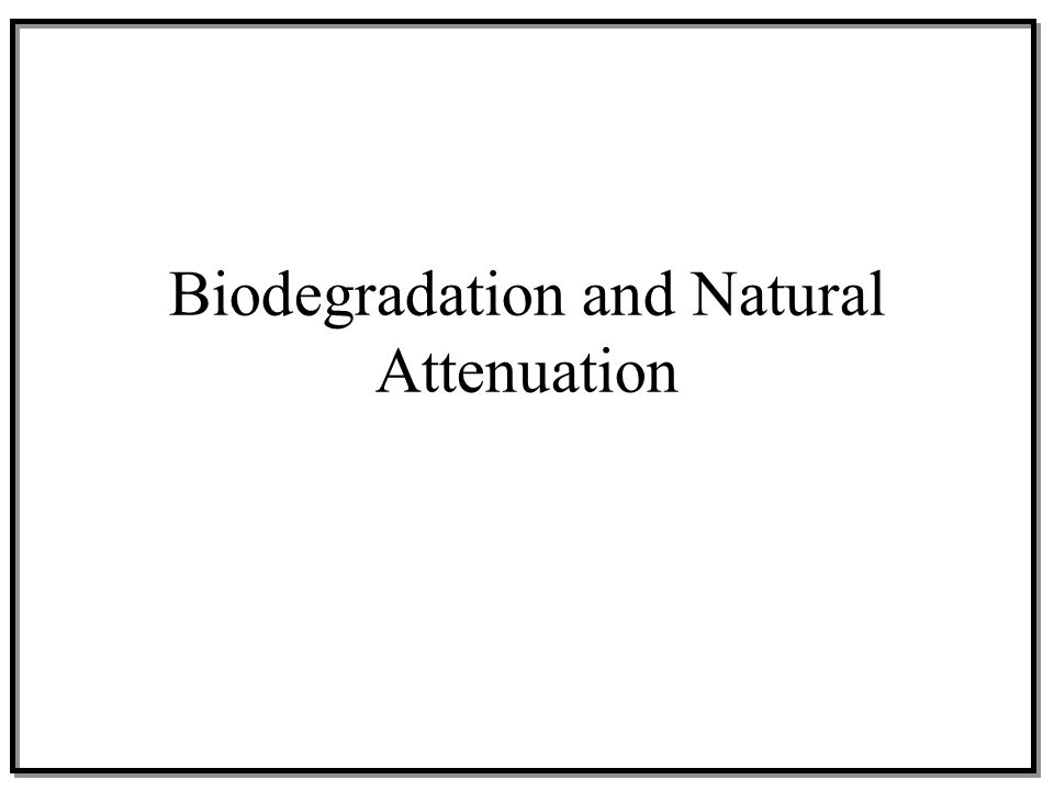 Biodegradation and Natural Attenuation