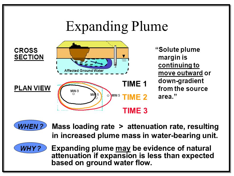 """PLAN VIEW CROSS SECTION """"Solute plume margin is continuing to move outward or down-gradient from the source area."""" Affected Ground Water MW-5 MW-9 MW-"""