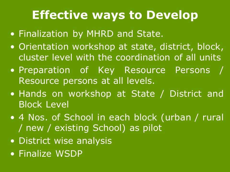 Effective ways to Develop Finalization by MHRD and State.