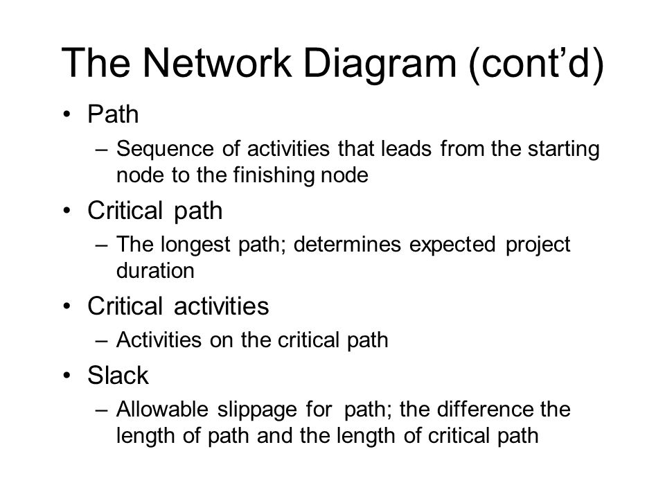 The Network Diagram (cont'd) Path –Sequence of activities that leads from the starting node to the finishing node Critical path –The longest path; determines expected project duration Critical activities –Activities on the critical path Slack –Allowable slippage for path; the difference the length of path and the length of critical path