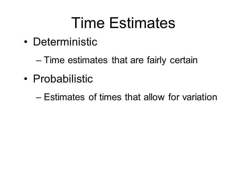 Time Estimates Deterministic –Time estimates that are fairly certain Probabilistic –Estimates of times that allow for variation