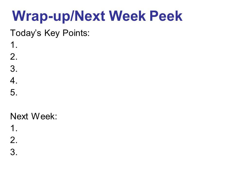 Today's Key Points: 1. 2. 3. 4. 5. Next Week: 1. 2. 3. Wrap-up/Next Week Peek