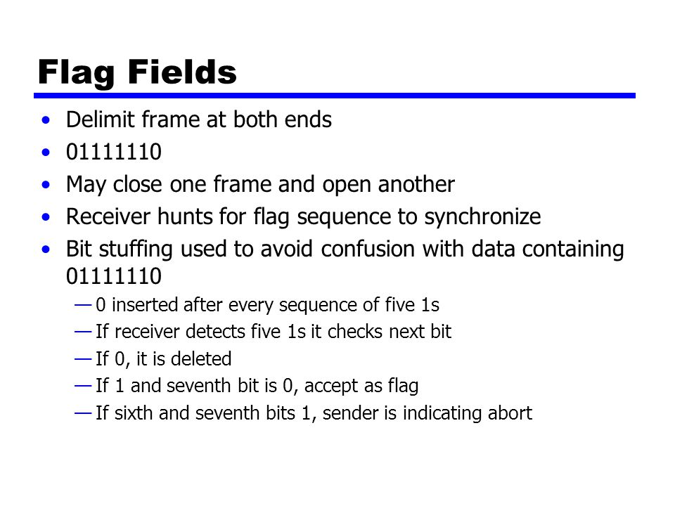 Flag Fields Delimit frame at both ends 01111110 May close one frame and open another Receiver hunts for flag sequence to synchronize Bit stuffing used to avoid confusion with data containing 01111110 —0 inserted after every sequence of five 1s —If receiver detects five 1s it checks next bit —If 0, it is deleted —If 1 and seventh bit is 0, accept as flag —If sixth and seventh bits 1, sender is indicating abort