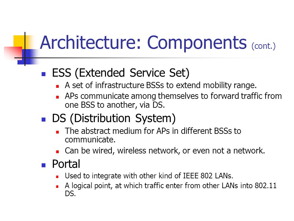 Architecture: Components (cont.) ESS (Extended Service Set) A set of infrastructure BSSs to extend mobility range.