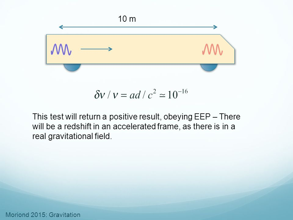 Moriond 2015: Gravitation 10 m This test will return a positive result, obeying EEP – There will be a redshift in an accelerated frame, as there is in