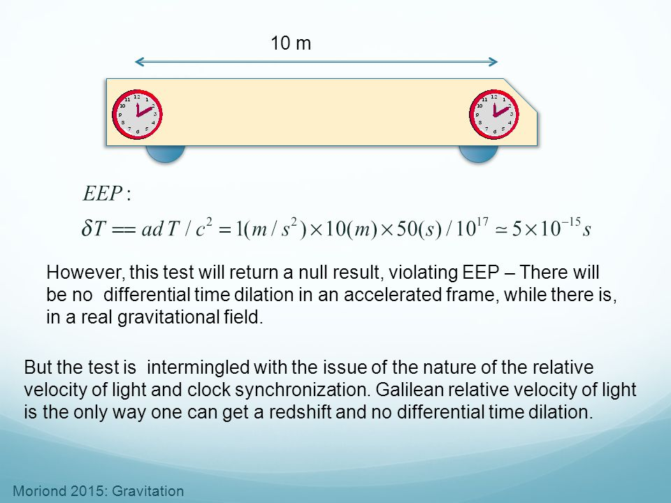Moriond 2015: Gravitation 10 m However, this test will return a null result, violating EEP – There will be no differential time dilation in an acceler