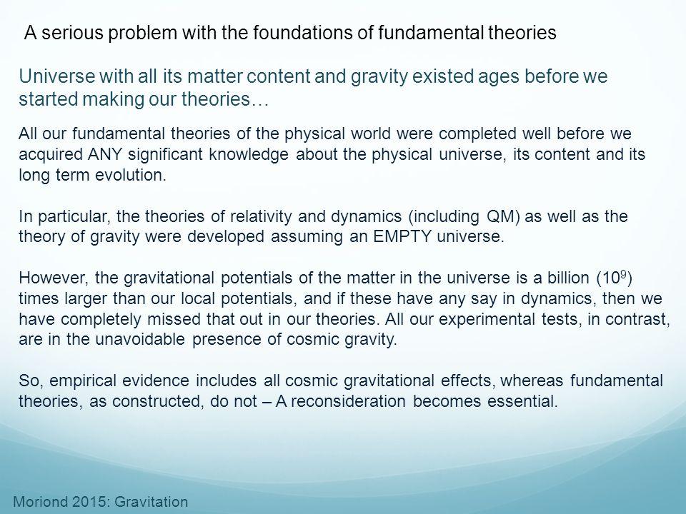 Moriond 2015: Gravitation The necessary paradigm change
