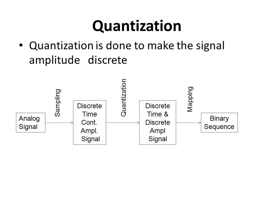 Quantization Quantization is done to make the signal amplitude discrete Analog Signal Sampling Discrete Time Cont. Ampl. Signal Quantization Discrete