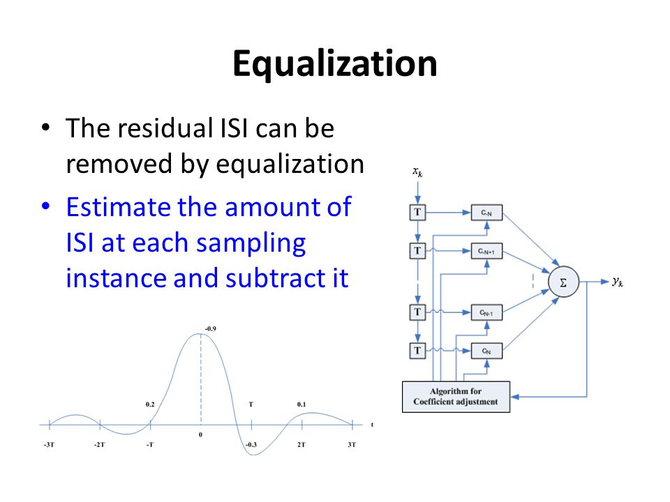 Equalization The residual ISI can be removed by equalization Estimate the amount of ISI at each sampling instance and subtract it