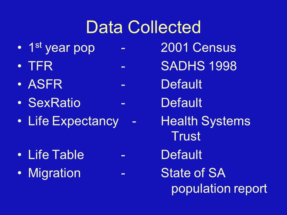 Data Collected 1 st year pop -2001 Census TFR -SADHS 1998 ASFR -Default SexRatio -Default Life Expectancy-Health Systems Trust Life Table -Default Migration -State of SA population report