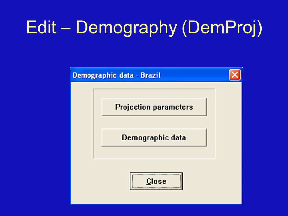 Edit – Demography (DemProj)