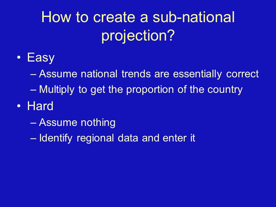 How to create a sub-national projection.