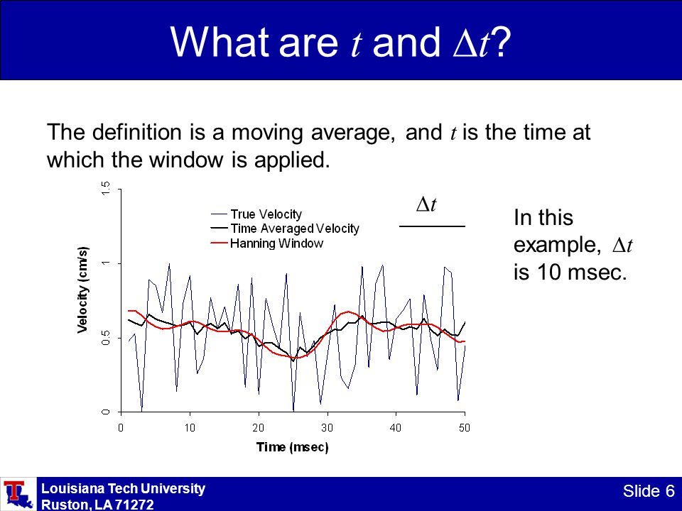 Louisiana Tech University Ruston, LA 71272 Slide 6 What are t and  t ? The definition is a moving average, and t is the time at which the window is a