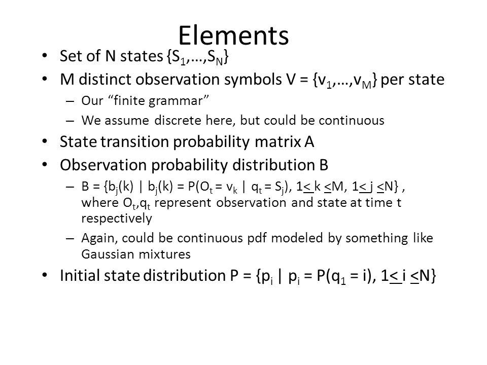 "Elements Set of N states {S 1,…,S N } M distinct observation symbols V = {v 1,…,v M } per state – Our ""finite grammar"" – We assume discrete here, but"