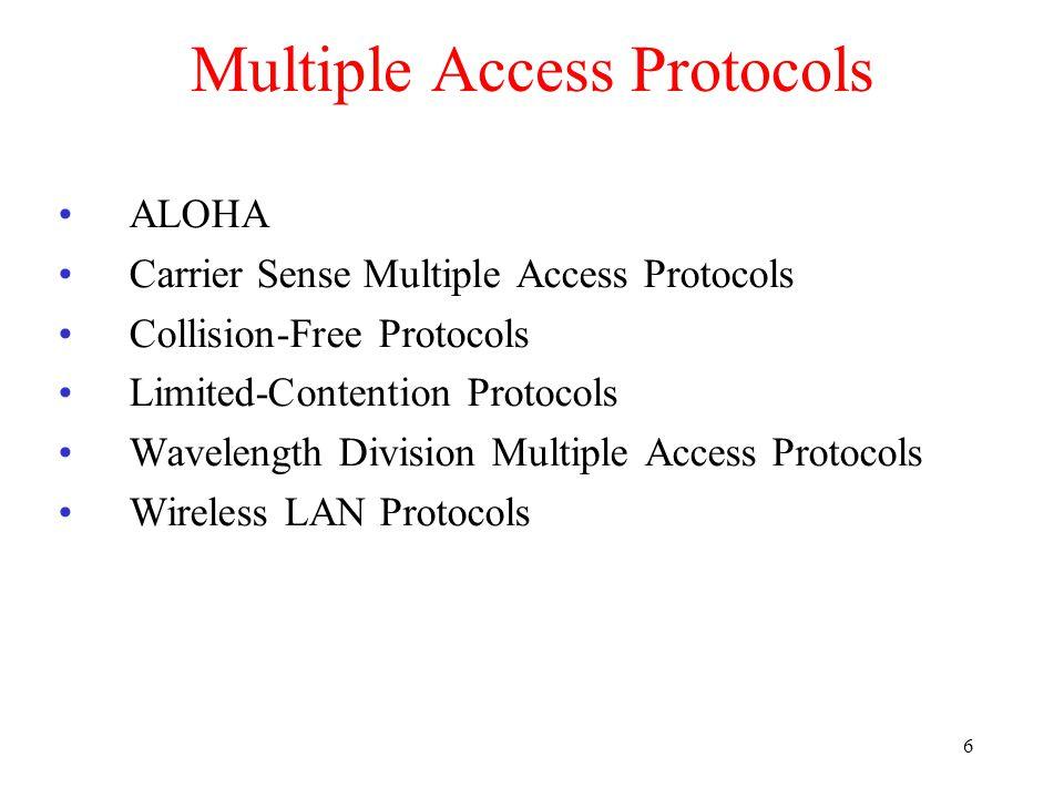 7 13.1 Random Access MA CSMA CSMA/CD CSMA/CA
