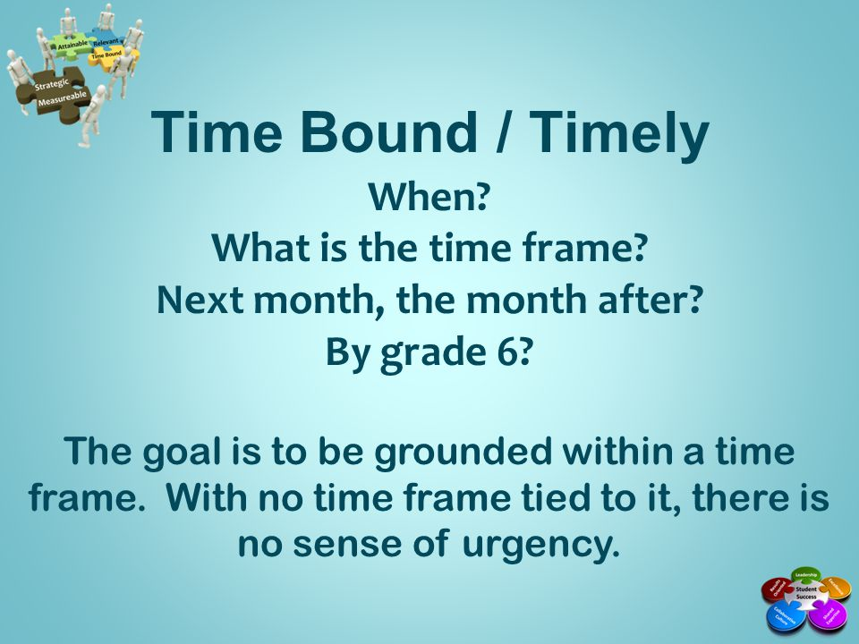 Time Bound / Timely Non Example: Students will increase their reading scores by...