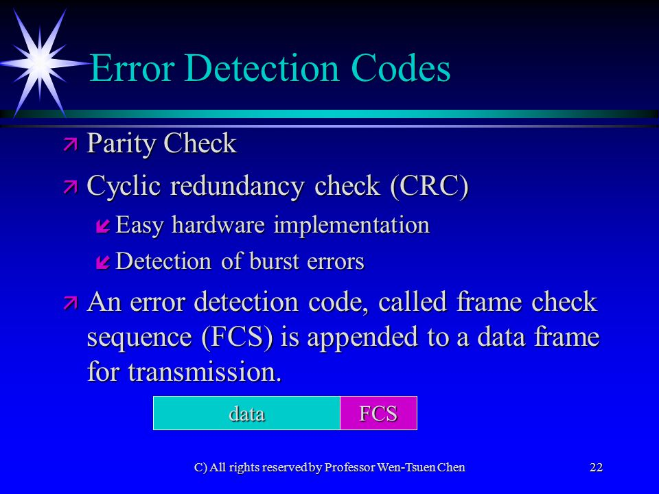 C) All rights reserved by Professor Wen-Tsuen Chen22 Error Detection Codes ä Parity Check ä Cyclic redundancy check (CRC) í Easy hardware implementation í Detection of burst errors ä An error detection code, called frame check sequence (FCS) is appended to a data frame for transmission.