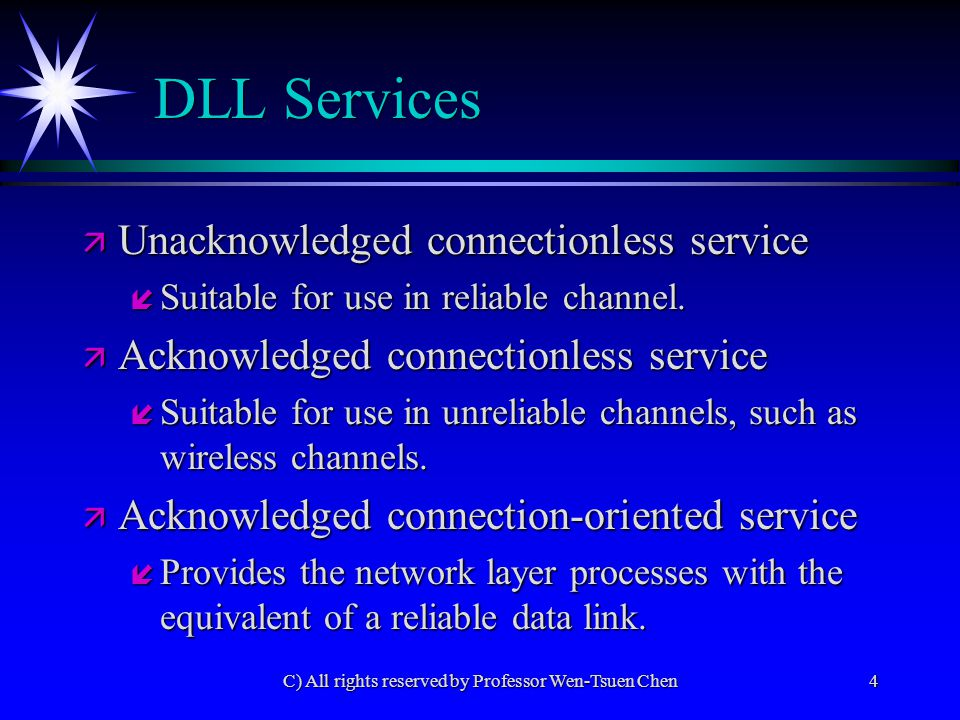 C) All rights reserved by Professor Wen-Tsuen Chen4 DLL Services ä Unacknowledged connectionless service í Suitable for use in reliable channel.