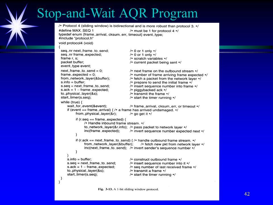 C) All rights reserved by Professor Wen-Tsuen Chen43 Go-back-N AQR Program