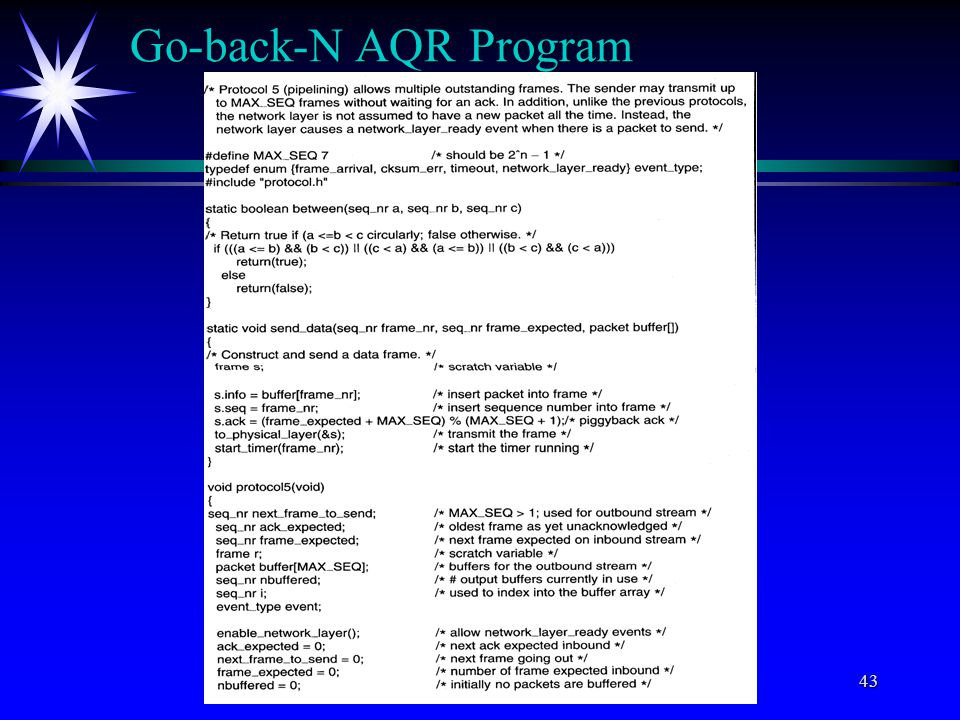 C) All rights reserved by Professor Wen-Tsuen Chen43 Go-back-N AQR Program