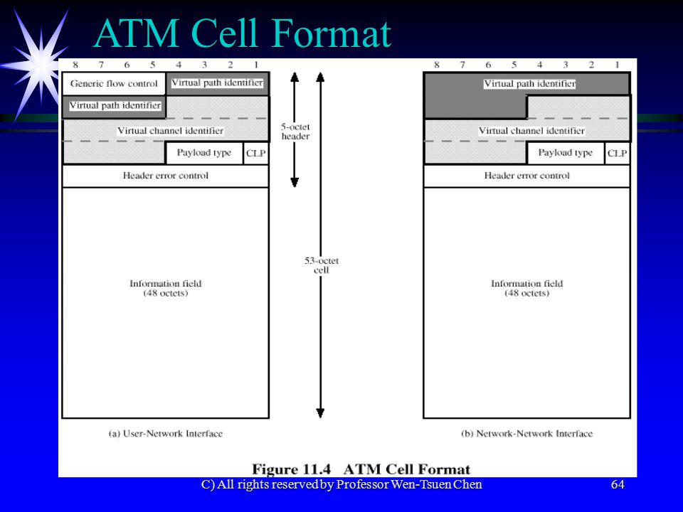 C) All rights reserved by Professor Wen-Tsuen Chen64 ATM Cell Format