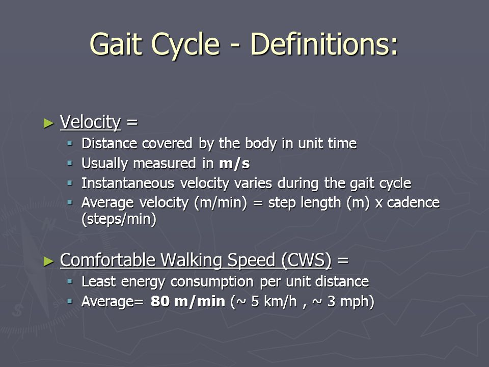 Gait Cycle - Definitions: ► Velocity =  Distance covered by the body in unit time  Usually measured in m/s  Instantaneous velocity varies during the gait cycle  Average velocity (m/min) = step length (m) x cadence (steps/min) ► Comfortable Walking Speed (CWS) =  Least energy consumption per unit distance  Average= 80 m/min (~ 5 km/h, ~ 3 mph)