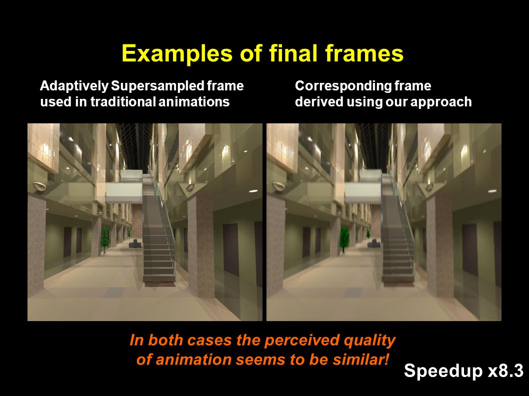 Examples of final frames Adaptively Supersampled frame used in traditional animations Corresponding frame derived using our approach In both cases the perceived quality of animation seems to be similar.