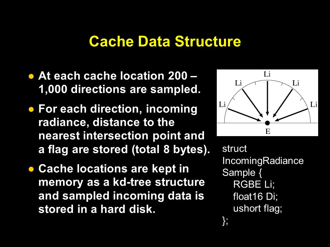Cache Data Structure ● At each cache location 200 – 1,000 directions are sampled.