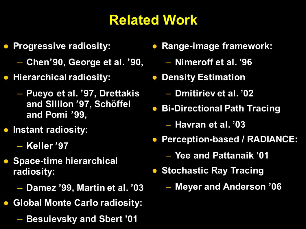 Related Work ●Progressive radiosity: –Chen ' 90, George et al.