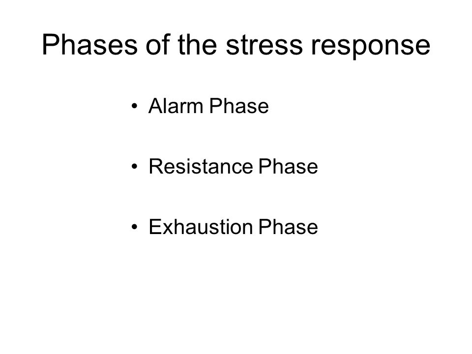 Phases of the stress response Alarm Phase Resistance Phase Exhaustion Phase