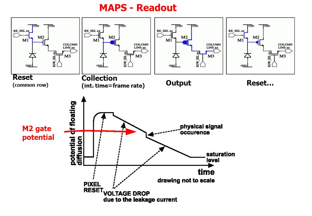 MAPS - Readout Collection (int. time=frame rate) OutputReset… Reset (common row) M2 gate potential