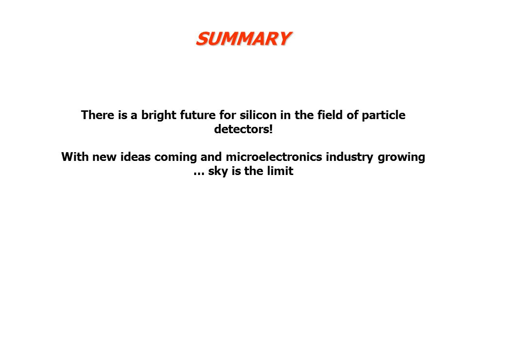 SUMMARY There is a bright future for silicon in the field of particle detectors.