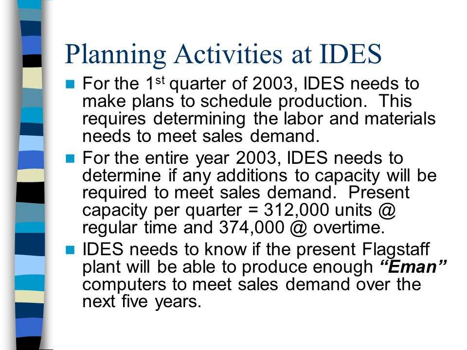 Planning Activities at IDES For the 1 st quarter of 2003, IDES needs to make plans to schedule production.