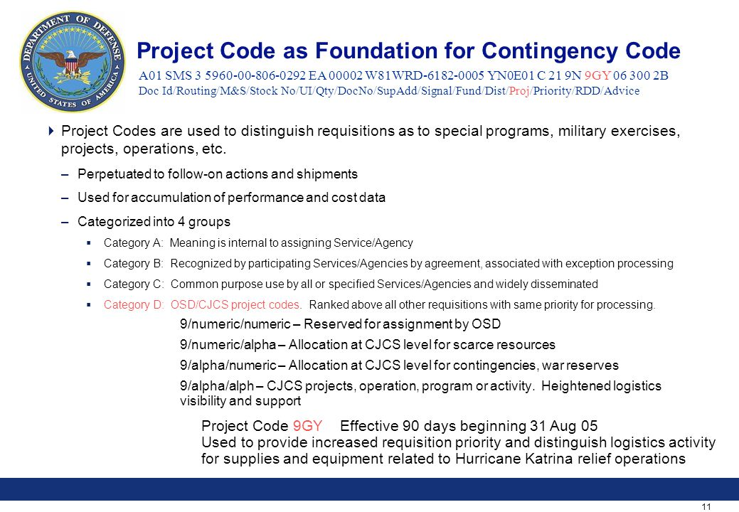 11 Project Code as Foundation for Contingency Code  Project Codes are used to distinguish requisitions as to special programs, military exercises, projects, operations, etc.
