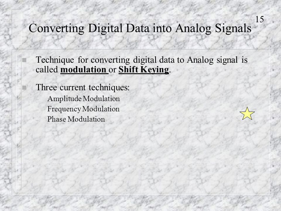 15 Converting Digital Data into Analog Signals n Technique for converting digital data to Analog signal is called modulation or Shift Keying.