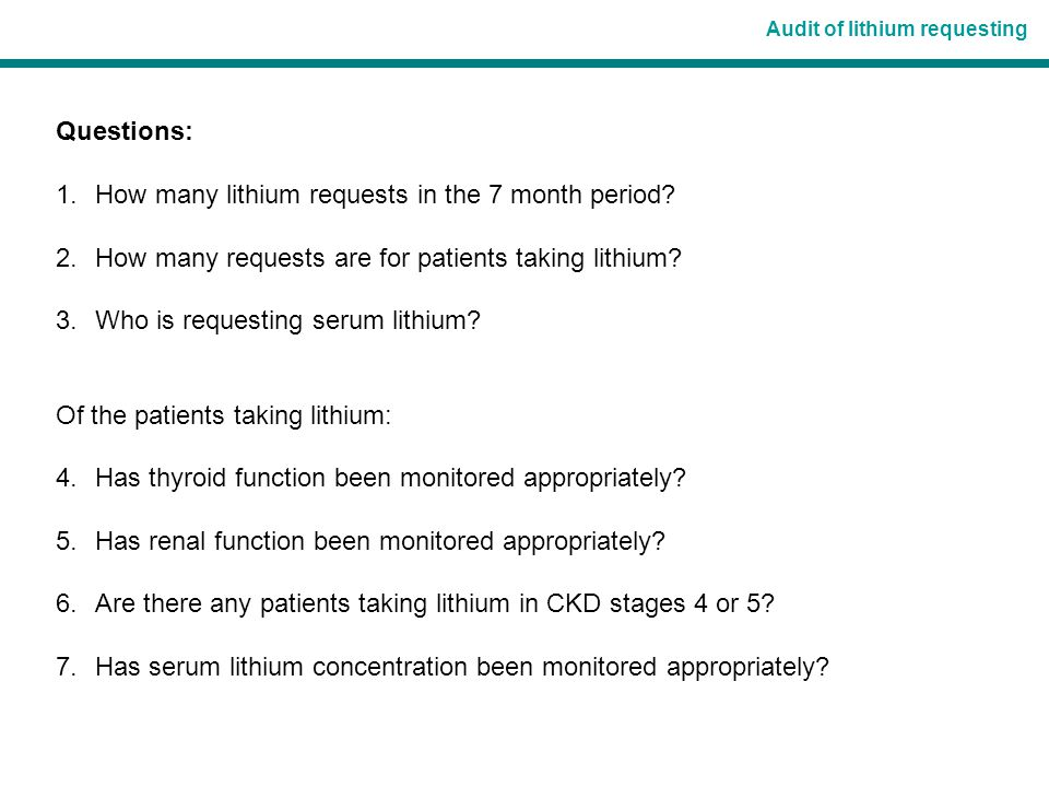 Audit of lithium requesting 2.How many requests are for patients taking lithium.