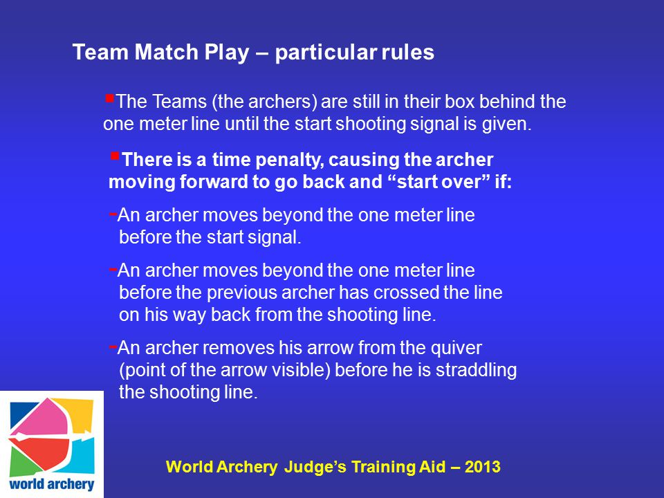 World Archery Judge's Training Aid – 2013  The Teams (the archers) are still in their box behind the one meter line until the start shooting signal i
